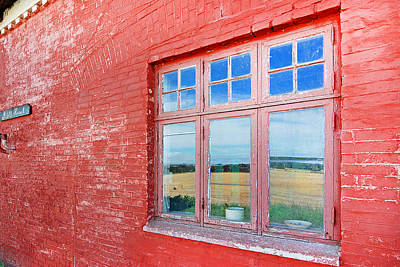 Reflections In The Old Mill House Window Art Print