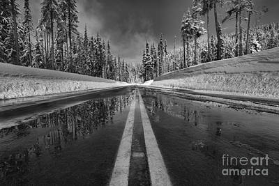 Photograph - Reflections In The Pavement - Black And White by Adam Jewell