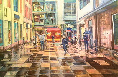 Painting - Reflections In The Pavement, Brown Street, Manchester by Rosanne Gartner
