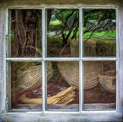 Cabin Window Digital Art - Reflections In The Window by John Haldane