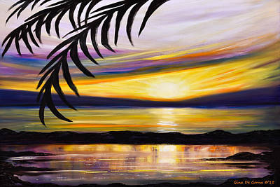 Painting - Reflections - Landscape Sunset by Gina De Gorna