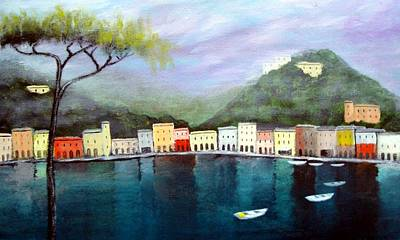 Portofino Italy Painting - Reflections  by Larry Cirigliano