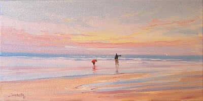 People On Beach Wall Art - Painting - Reflections by Laura Lee Zanghetti