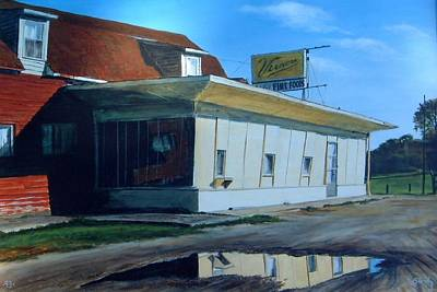 Airplane Paintings - Reflections Of A Diner by William Brody
