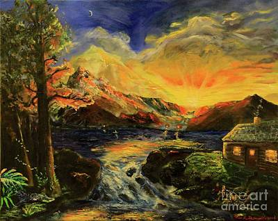 Tree Reflection At Sunset Painting - Reflections Of A Mountain Sunset by Rich Donadio