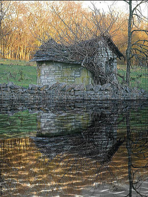 Photograph - Reflections Of A Stone Building by Ericamaxine Price