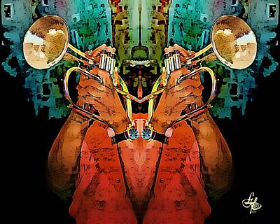 Musiciant Digital Art - Reflections Of A Trumpeter by Lynda Payton