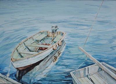 Skiff Wall Art - Painting - Reflections Of An Old Wooden Skiff by P Anthony Visco