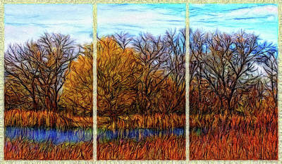 Digital Art - Reflections Of Autumnal Echoes - Triptych by Joel Bruce Wallach