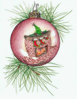 Pine Needles Drawing - Reflections Of Christmas by Theresa Higby