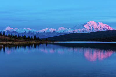 Sunset Reflections Of Denali In Wonder Lake Art Print