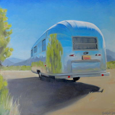 Airstream Trailer Painting - Reflections Of Mountain And Sage by Elizabeth Jose