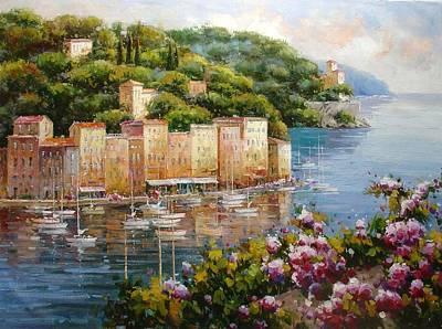 Portofino Italy Painting - Reflections Of Portofino by Lucio Campana