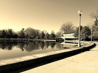 Reflections Of Round Lake - Sepia Art Print by Scott D Van Osdol