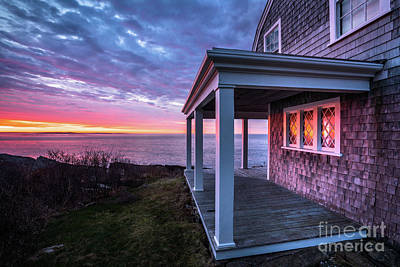 Maine Cottage Photograph - Reflections Of Sunrise In Cottage Windows By The Sea by Benjamin Williamson
