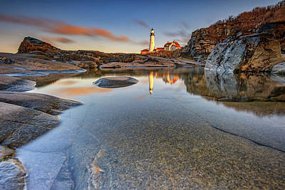 Photograph - Reflections Of Sunset At Portland Head by Rick Berk
