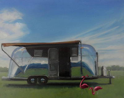 Airstream Trailer Painting - Reflections Of The Airstream Factory by Elizabeth Jose