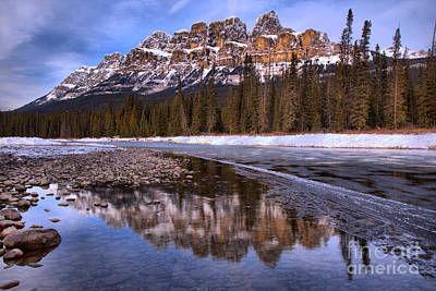 Photograph - Reflections Of The Castle Mountain Peaks by Adam Jewell