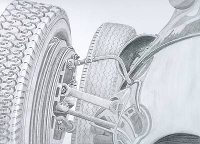 Italian Classic Car Drawing - Reflections In Time by Rick Bennett