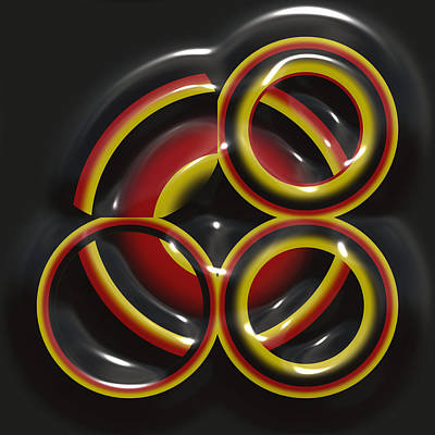 Art Nouveau Style Mixed Media - Reflections Of The Rings by Mario Carini