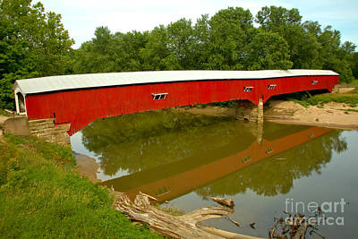 Photograph - Reflections Of The West Union Covered Bridge by Adam Jewell