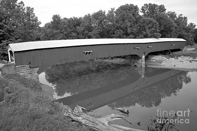 Photograph - Reflections Of The West Union Covered Bridge Black And White by Adam Jewell