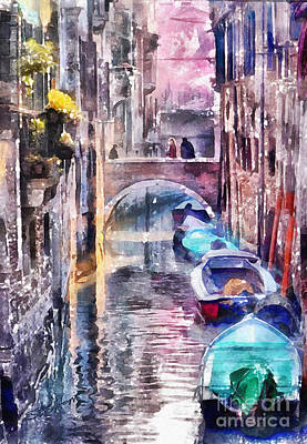 Reflections Of Venice Art Print by Shirley Stalter