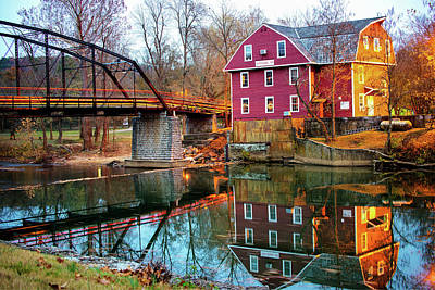 Photograph - Reflections Of War Eagle Mill And Bridge by Gregory Ballos