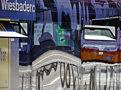 Photograph - Reflections On  A Bus In Mainz 1  by Sarah Loft