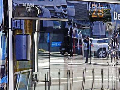 Photograph - Reflections On  A Bus In Mainz 2 by Sarah Loft