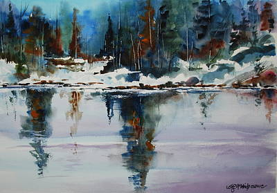 Reflections On A Frozen Pond Art Print by Wilfred McOstrich