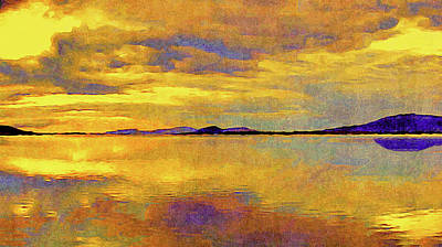 Painting - Reflections On A Seaside Sunset by Susan Maxwell Schmidt