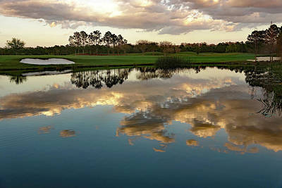 Photograph - Reflections On A Water Hazzard At The Shingle Creek Golf Club In Orlando Florida by Richard Rosenshein