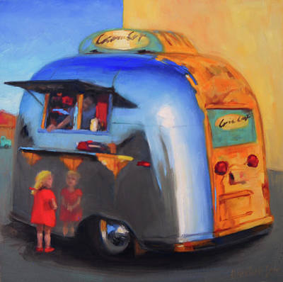 Airstream Painting - Reflections On An Airstream by Elizabeth Jose