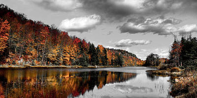 Reflection On Pond Photograph - Reflections On Bald Mountain Pond II by David Patterson