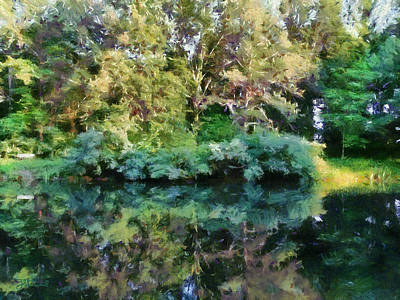 Reflections On Oak Creek Pond Art Print by Theresa Campbell