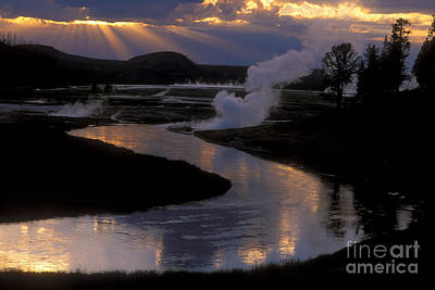 Reflections On The Firehole River Print by Sandra Bronstein