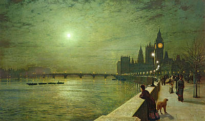 Moonlit Night Painting - Reflections On The Thames by John Atkinson Grimshaw
