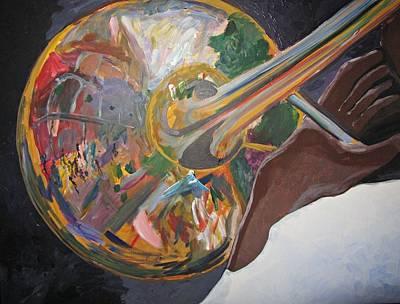 Wall Art - Painting - Reflections On Trombone by Kerin Beard