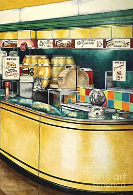 Snack Bar Drawing - Reflections Passed by David Neace