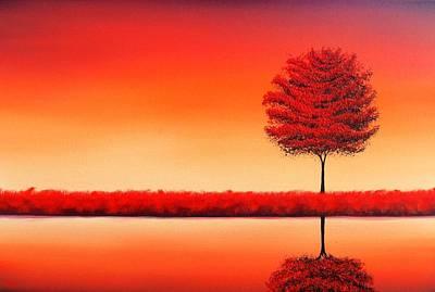 Autumn Landscape Painting - Reflections by Rachel Bingaman