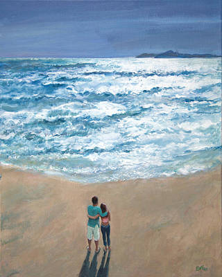 On The Beach Painting - Reflections by Sandra Delaney