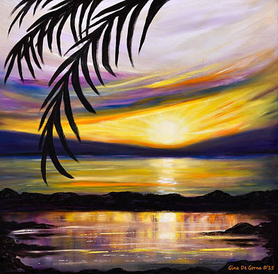 Painting - Reflections - Square Sunset by Gina De Gorna