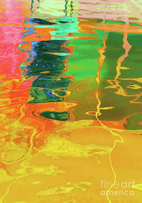Photograph - Reflections Yellow Pink Green N Orange by Expressionistart studio Priscilla Batzell