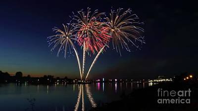 Photograph - Reflective Fireworks by Erick Schmidt