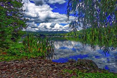 Art Print featuring the painting Reflective Lake by Joan Reese