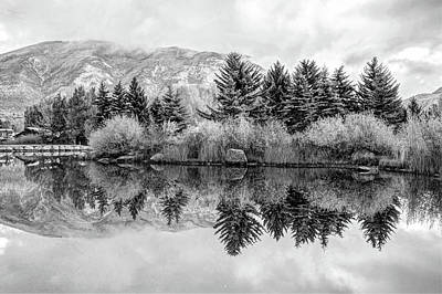 Photograph - Reflective Morning In Black And White by Gregory Ballos
