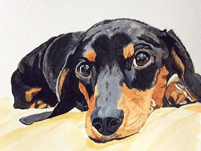 Weiner Dog Painting - Reflective by Sonja Jones