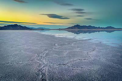 Salt Water Photograph - Reflective Sunset At Bonneville Salt Flats by James Udall