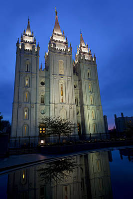 Salt Lake Temple Wall Art - Photograph - Reflective Temple by Chad Dutson